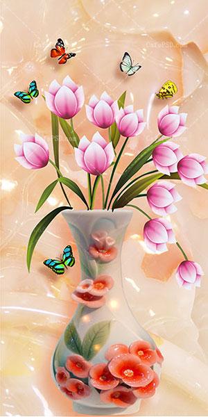 طرح تابلو نقاشی گل و گلدان | کافه پی اس دی